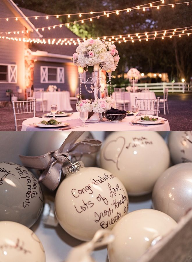 What a great idea instead of a guest book, get your guests to sign baubles for you!: