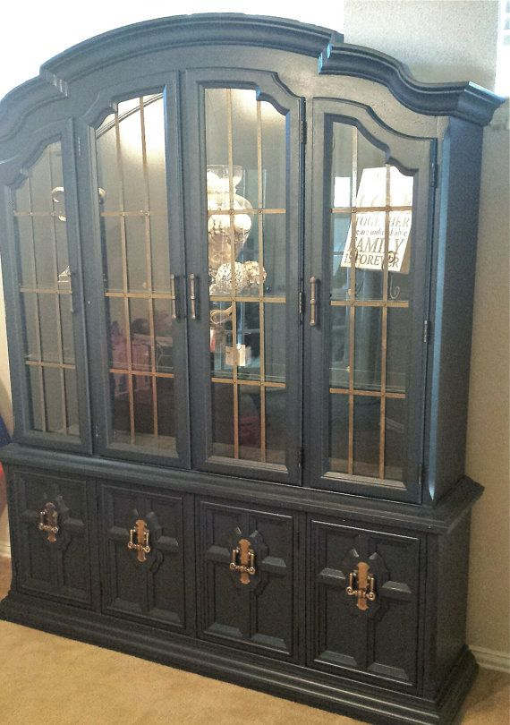Shabby Chic Navy Blue China Cabinet By Dustybootdesigns On