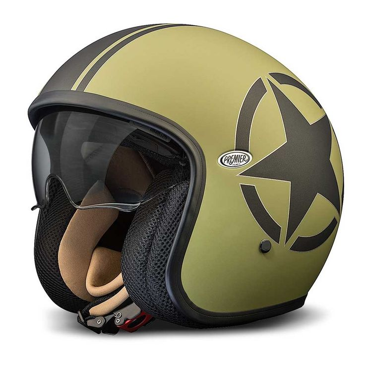 Premier Jet Vintage Helmet - Military Green / Black Star - THE CAFE RACER | FREE UK DELIVERY