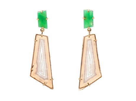 Chrysoprase and Polyhedroid earrings by Anita Crowther  (18ct yellow gold, chrysophrase, polyhedroid agate)