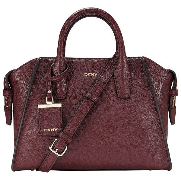 DKNY Chelsea Vintage Leather Satchel , Burgundy ($355) ❤ liked on Polyvore featuring bags, handbags, burgundy, vintage leather satchel, burgundy handbag, dkny purses, satchel style handbags and satchel purse