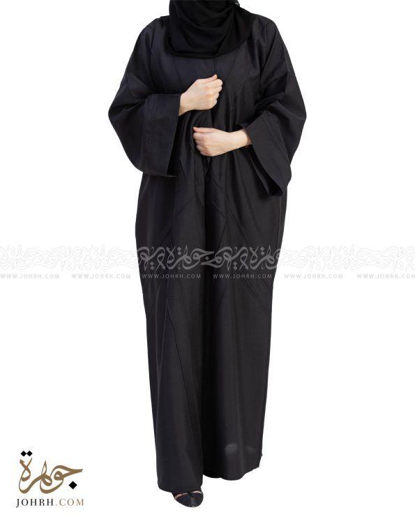 1547 عباية بخياطة بارزة بلون اسود عباءة جوهرة Abayas Fashion Fashion High Neck Dress