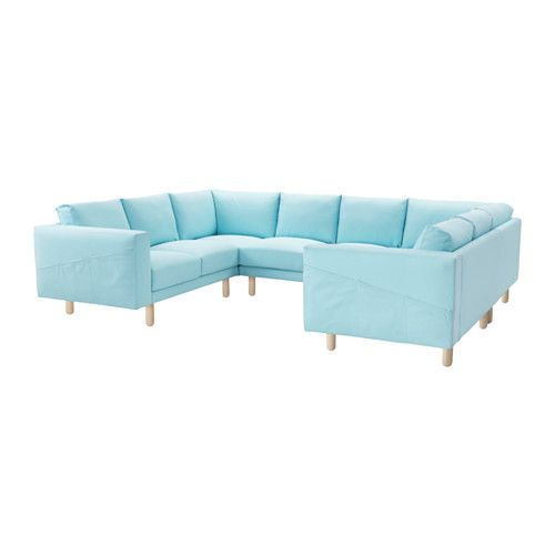NORSBORG Sofa U Shaped Edum Light Blue Gray