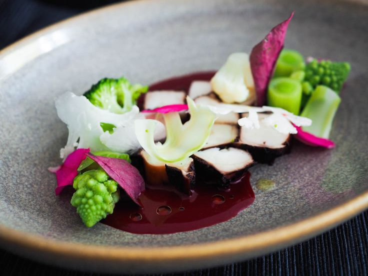 Jumbo squid with beetroot sauce, broccoli and cauliflower | Oh My Chef