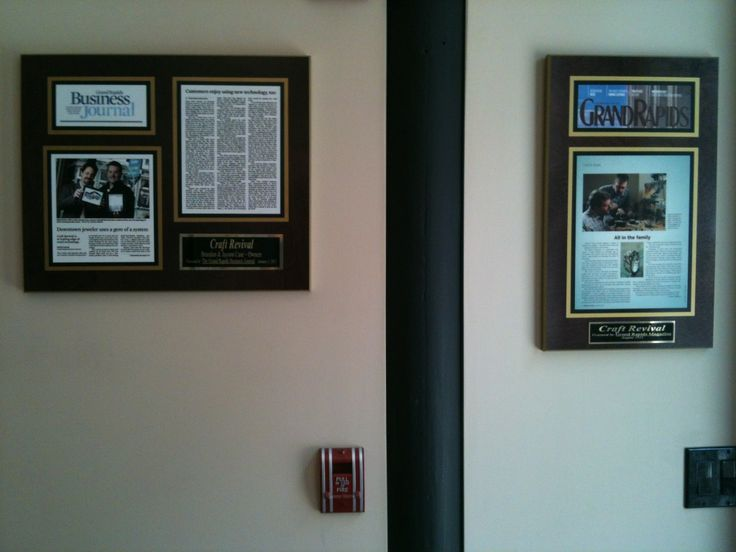 Article plaques create a buzz.  Features from newspaper and magazine publications