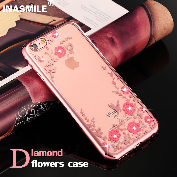 Rhinestones Cases For iPhone 5 cases Soft TPU rose gold Case for iPhone 7 Case plus Flower Fundas Cove for Apple iPhone 6s plus