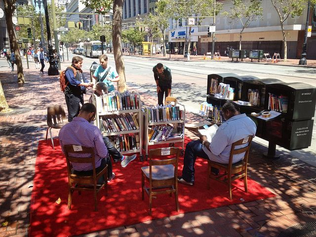 San Francisco, outdoor reading room and pop up library on Market St.