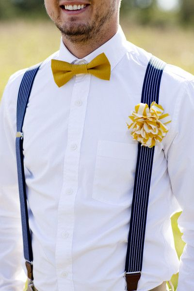 How adorable is this Groom's style? Loving the yellow bowtie and blue #suspenders {Taken by Tate}