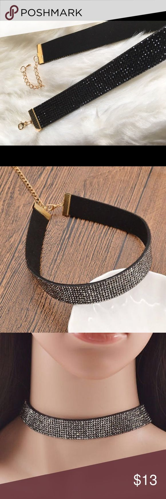 Black rhinestone choker New in package black rhinestone choker! Approximately 33 cm in length. Features gold clasp closure and black rhinestones all through out. First picture is mine and of the exact item you will receive! **NOT from listed brand** Nasty Gal Jewelry Necklaces