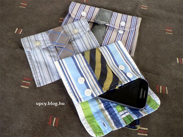 Bagging Maks - upcycled purse (shirt cuff and necktie).  Továbbhasznosított tartó - ing és nyakkendő.