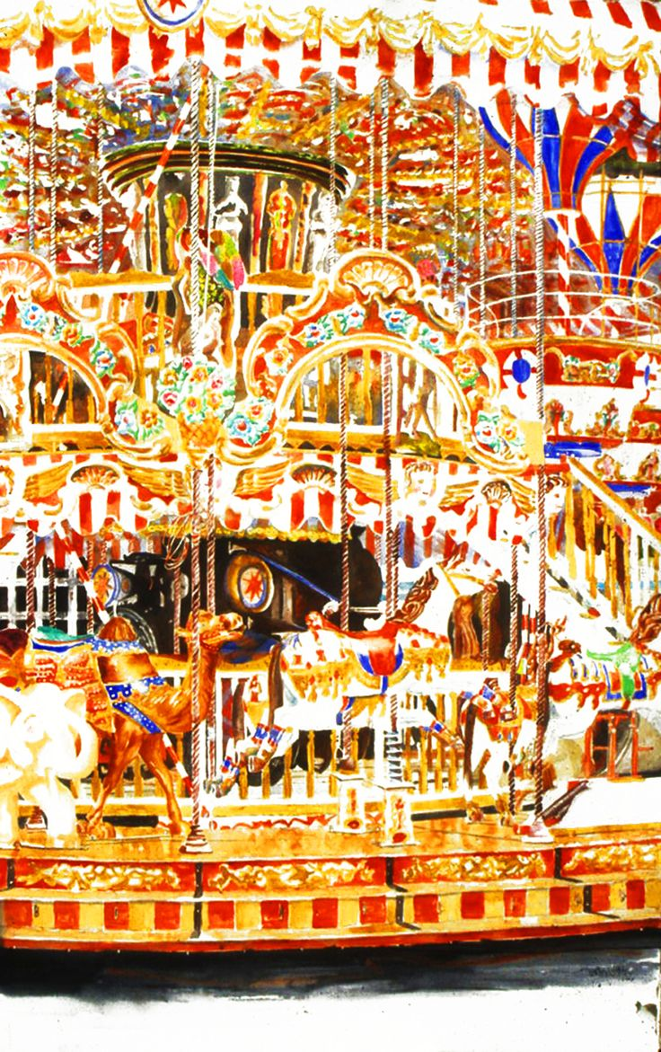"horses carousel arles 40"" x 26"" micheal zarowsky / watercolour on arches paper / (private collection)"