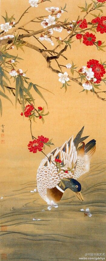 """The traditional Chinese painting [Chen Zhifo """"everything"""" 】 A colourful duck, playing in the water, chasing the fallen petals,"""