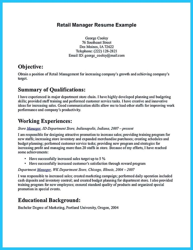 Resume Sample Assistant Store Manager Retail