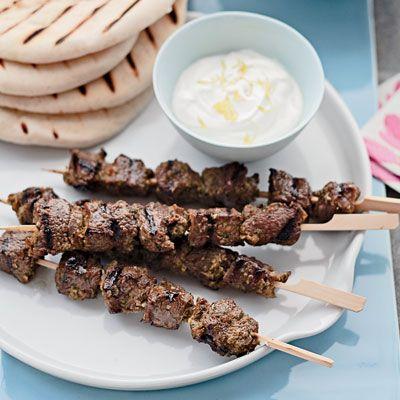 Middle Eastern Lamb Skewers - marinate in garlic, onion, yogurt, mint, allspice, pepper