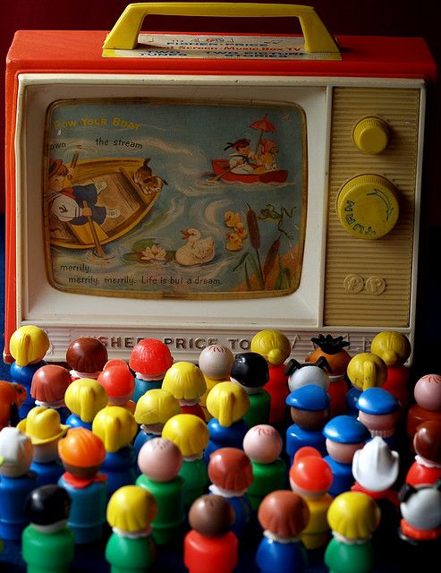 toys from my childhood but also representing the huge TV wheeled out each day at primary school....