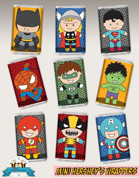INSTANT DOWNLOAD - 9x Cute Superheroes birthday Party - Hersheys Mini Candy Bar Wrappers Favor Baby Shower Personalized SuperHero Printable on Etsy, $7.00