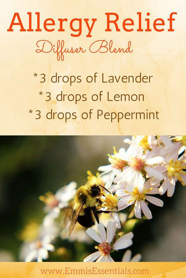 Allergy Relief Diffuser Blend: 3 drops of Lavender, 3 drops of Lemon, 3 drops of Peppermint - 11 Home Remedies For Spring Allergies - Click to keep reading