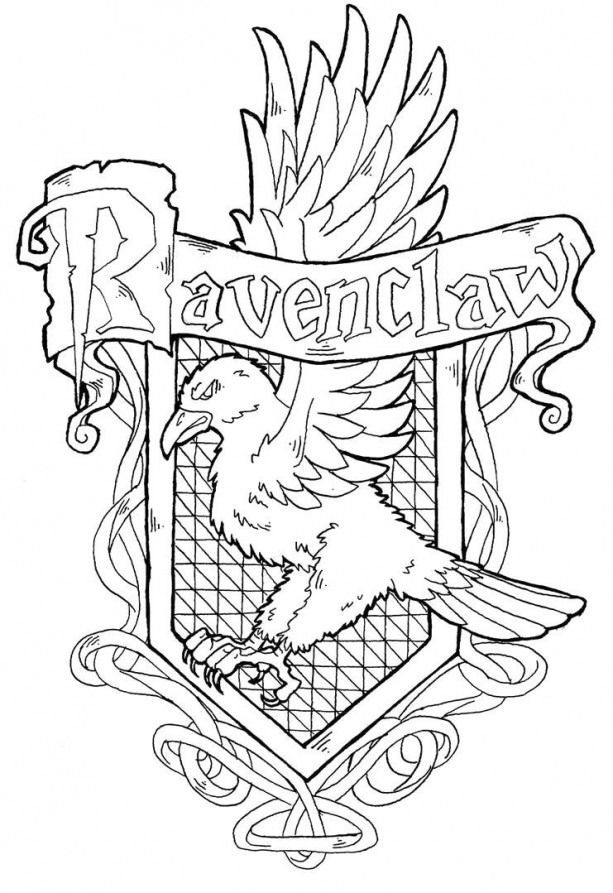 Gte16h9 Ravenclaw Crest Coloring Pages Kidswoodcrafts Harry