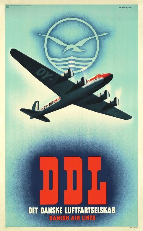 Vintage poster: DDL - Danish Airlines (1938) - Denmark Artist: Finn Bjørvig