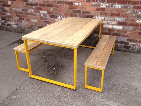 U-BAR DINING Table with yellow frame - Industrial Style - Matching Benches Available - Reclaimed scaffold Wood - Steel Frame