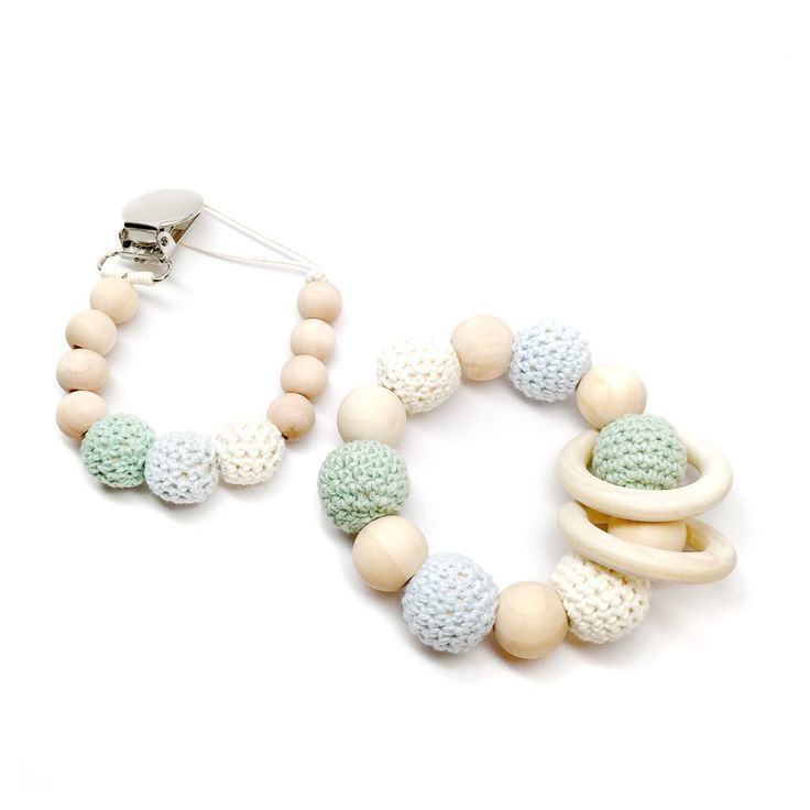 Jade Organic Wood Bead Teething Toy and Pacifier Clip Gift Set