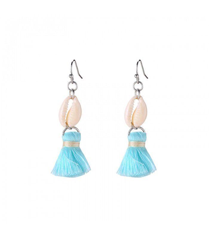 Mint groene oorbellen met schelpjes en kwastjes| mint groene oorbellen met bedels koop je online | Yehwang fashion en sieraden
