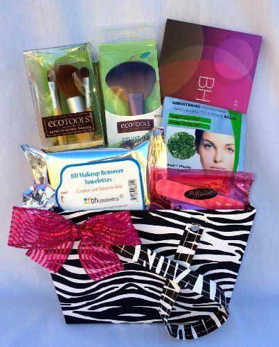Zebra Makeup Gift Basket Ecotools 5-piece Eye Brush Set. Fan Brush. 60 Day to Night Eyeshadow Palette. Makeup Remover Pads. BH Cosmetics Makeup Bag.  #Wonderfully_Made_Baskets #Beauty
