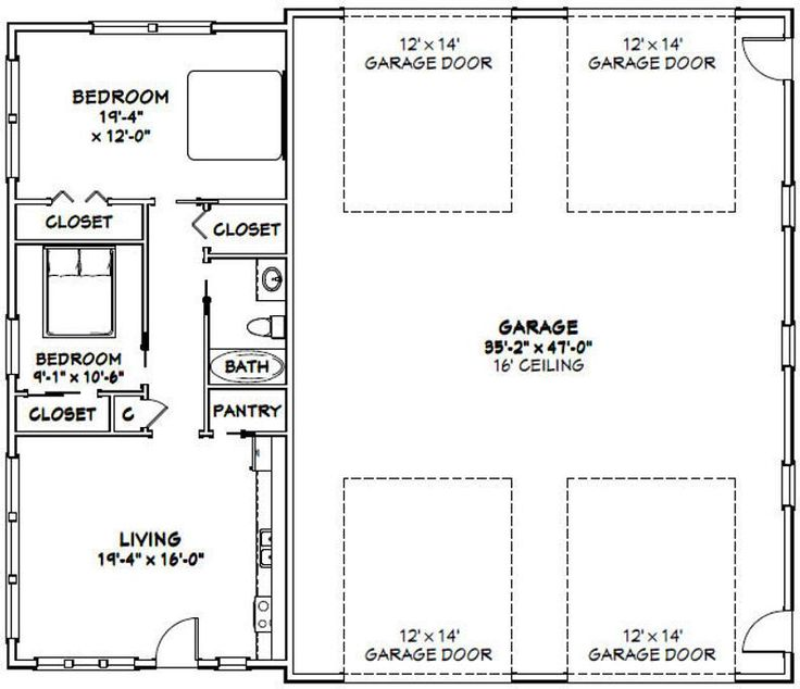 56x48 2RV Garage 2 Bedroom, 1 Bath 2,649 sq ft