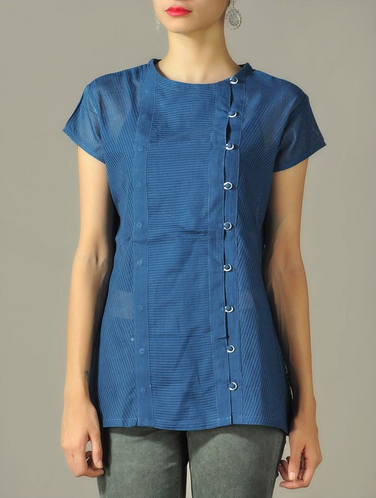 Buy Yale Blue Angrakha Top with Panels 100% Certified Appachi Eco Logic Cotton Online at Jaypore.com