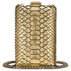 Chanel Paris in Rome Gold Python Il Quadrato Minaudiere