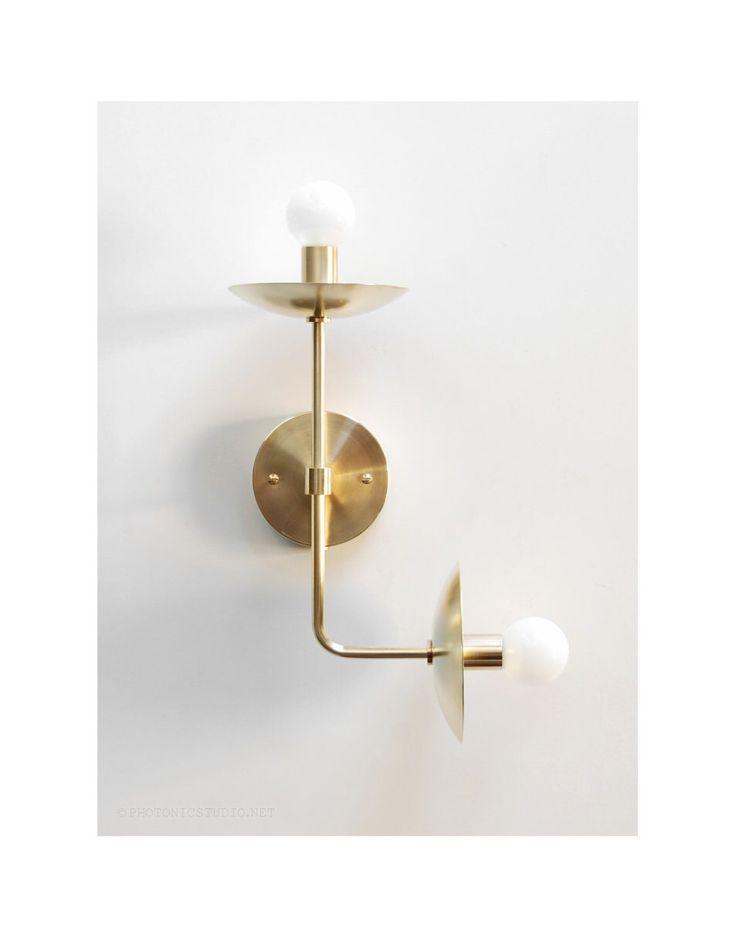 "Modern Wall Lamp - Modern Sconce - Modern Wall Light - Up Down -  Double Bulb - Brass Sconce - Modern Brass Lamp - ""Satellite II"" by PhotonicStudio on Etsy https://www.etsy.com/listing/244070347/modern-wall-lamp-modern-sconce-modern"