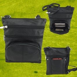 New Genuine Sheepskin Leather cross body bag black LN57853