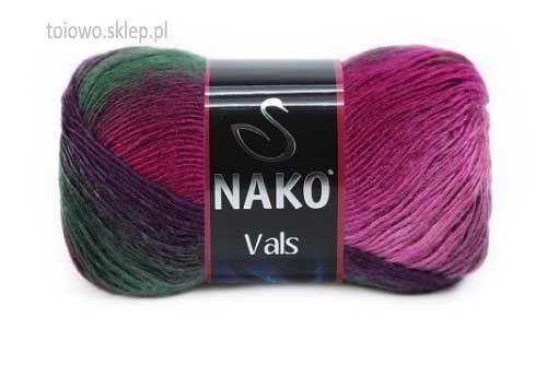 Nako Vals włóczka w tonacji wrzosowo-zielonej