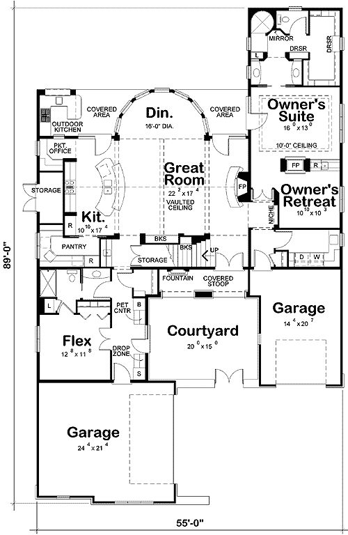 Exceptional House Plans With Front Courtyards Part - 5: I Really Like The Split Garage Space And The Outdoor Kitchen Along With The Front  Courtyard