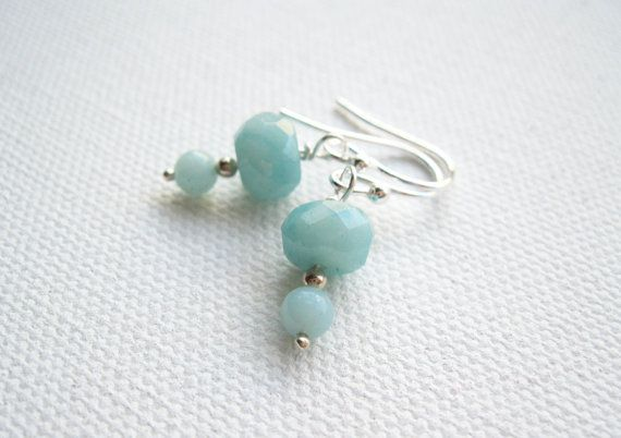 Amazonite Sterling Silver Earrings  UK Seller by blossomingsilver, £10.00