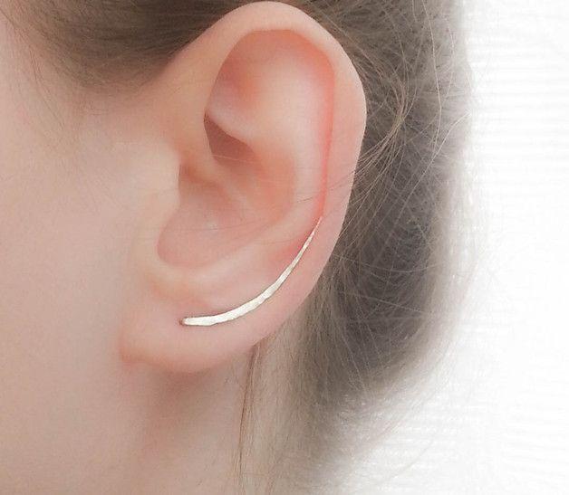 Long Silver Ear Climber, Ear Crawler, Bar Earrings – a unique product by moonlidesigns. Via en.DaWanda.com.