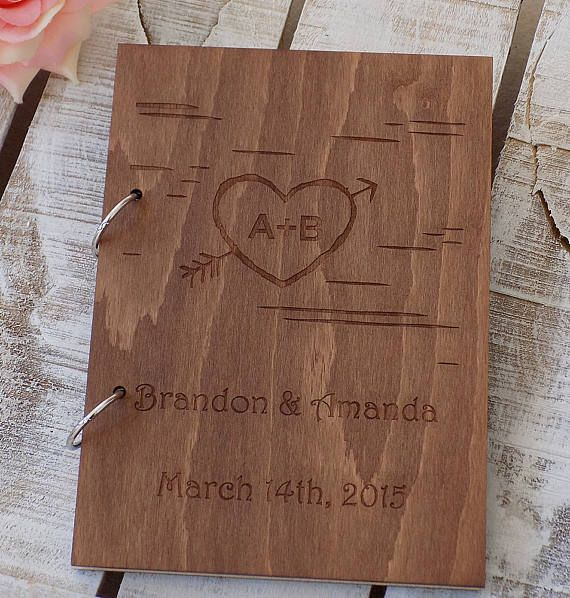 Arrow Wood Wedding Guest Book Custom Wedding Guestbook