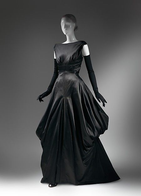 Late 1940s Fashion American Culture Sexy Back Black Silk Gothic Victorian Up Game