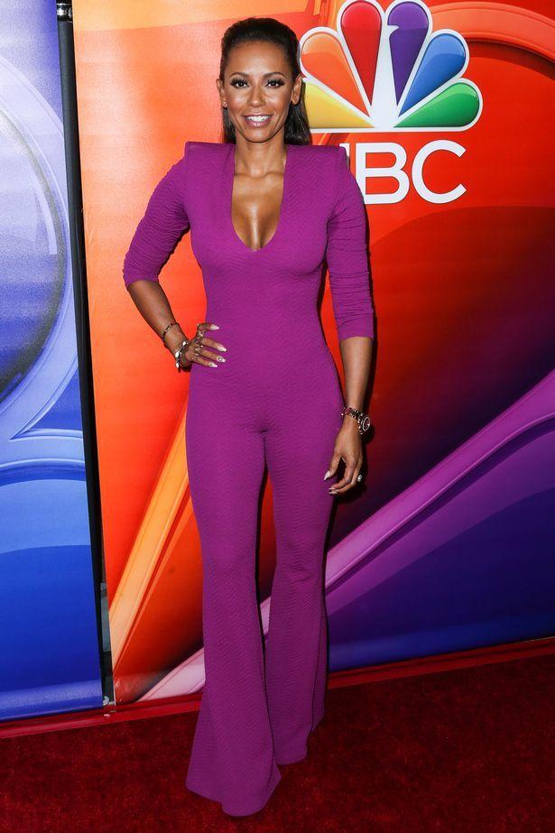 eea8257854a61 Mel B suffers fashion faux pas in camel toe flashing jumpsuit