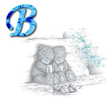 Alfabeto Me to You Bears con letras de colores.