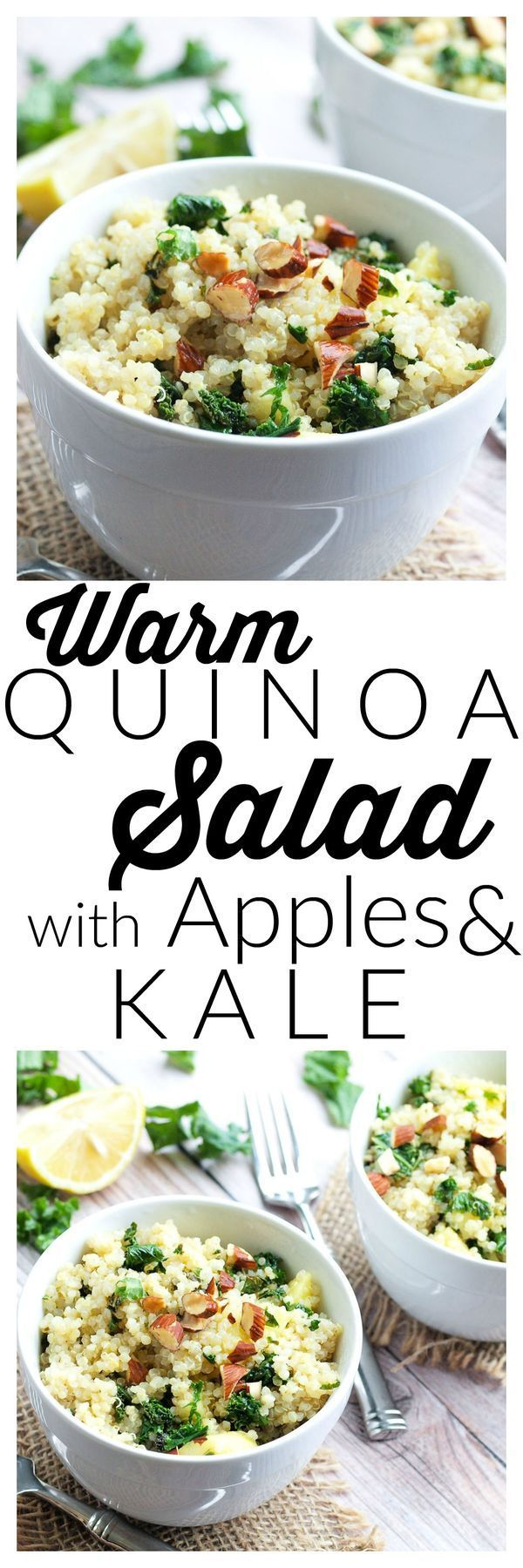 Warm Quinoa Salad with Apples and Kale.  This healthy salad recipe is great for lunch or a dinner side dish.  It has great flavor and is easy to make!