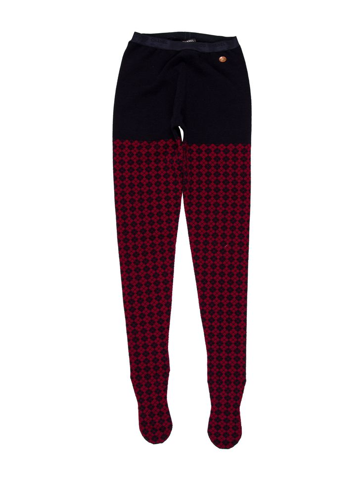 From the Pre-Fall 2013 Métiers d'Art Collection. Burgundy and navy Chanel wool tights with argyle pattern throughout, elasticized waistband and interlocking CC logo embellishment at hip.