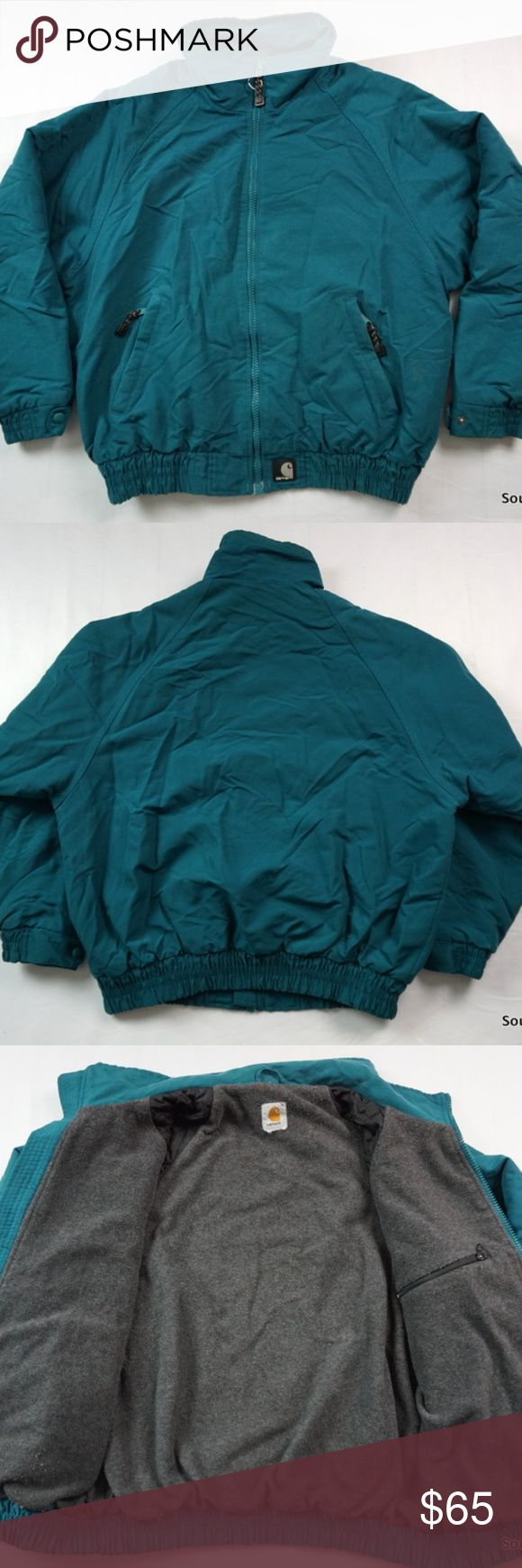 "90s Carhartt Winter Jacket Coat Green Men's Large Vintage 90s Carhartt Winter Jacket, Coat , Men's Large, L, Green, Fleece Lining, Warm, 90s Fashion  Brand:        Carhartt Size:           Men's Large Color:         Green Material:   Shell Nylon, Lining Polyester  Detailed Measurements: (Front Side of Garment has been measured laying flat on a table)  Sleeves:    31"" inches  Chest:       26"" inches Length:     28"" inches Carhartt Jackets & Coats"