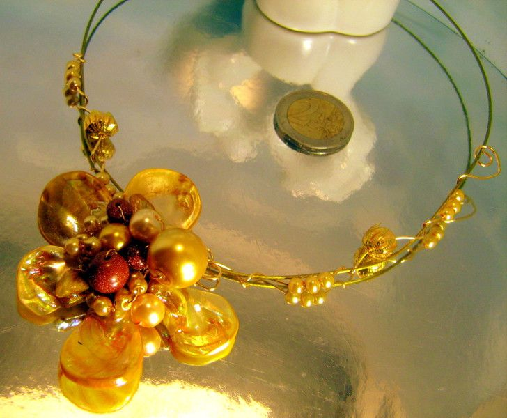 Pearl Necklaces – Gold Swarovski Pearls Floral Necklace – a unique product by…