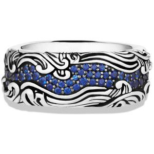 David Yurman Waves Wide Band Ring with Sapphires