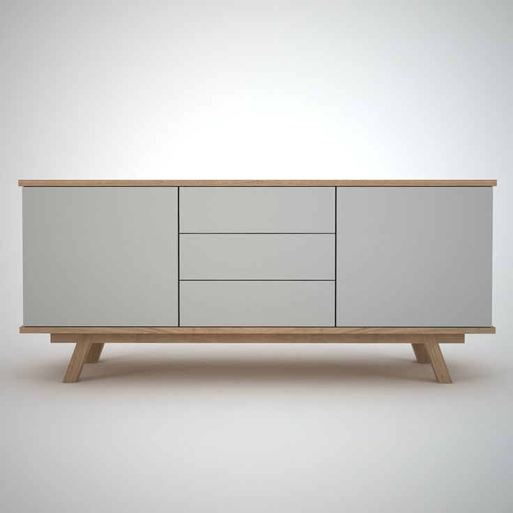 Ottawa - Contemporary Sideboard finished in Lacquered  Clay and Oak. With 2 doors and 3 drawers on push release fronts.