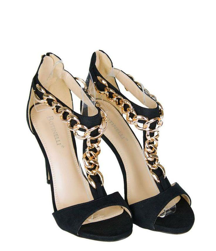 Sandale Dama Delicate Black  -Sandale dama design fin  -Fermoar la spate  -Toc 11cm  -Detaliu auriu