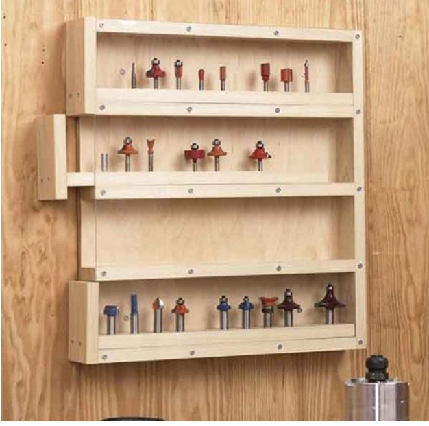 Excellent storage idea.  Easy categorization of router bits by uses.
