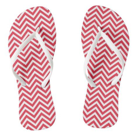 Red And White Chevron Stripe Flip Flops #chevron #patterned #footwear #fashion