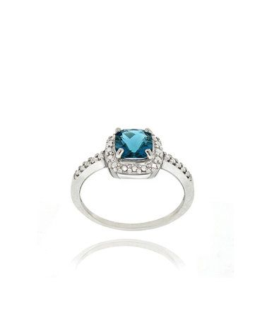 This London Blue Topaz & Diamond Cushion Ring is perfect! #zulilyfinds